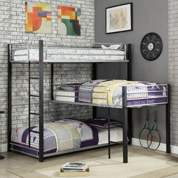 "Furniture of america CM-BK919 Aubrey triple twin ""L"" shaped twin over twin over twin sand black / silver metal frame industrial bunk bed"