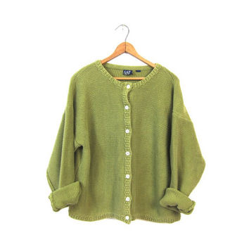 Avocado Green Button Up Cardigan Sweater Preppy Slouchy Thick Knit Cotton 90s Basic GAP Cardigan Boxy Simple Sweater Vintage Womens Large