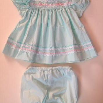 Vintage Mint Green/ Blue Ruffle Dress w/ Matching Bloomers. Mint and Pink Ribbon Dress. Old Fashioned Dress and Bloomers Set. 3 months