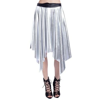 Silver pleated midi skirt in metallic