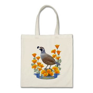 California State Bird Quail & Golden Poppy Tote Bag
