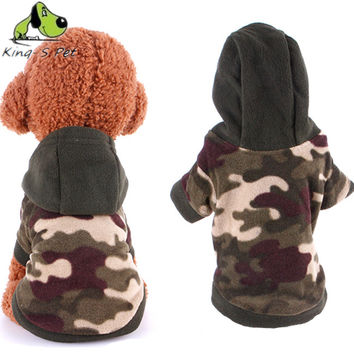 Autumn Winter Pet Dog Fleece Camouflage Hoodies Sweater Coat Navy Green Color With Warn Material Size S-XL New Style
