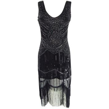 1920s Heavy Stiches Vintage Flapper Cocktail Dress Gatsby Charleston Deco Sequin Fringe Costume