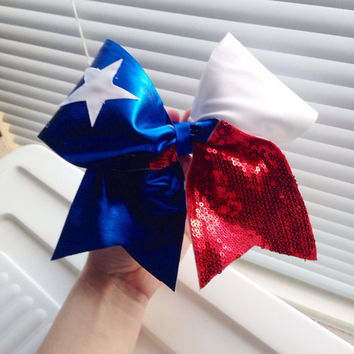 Red White and Blue Texas Flag Cheer Bow