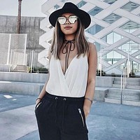Oversize Thin Cross Brow Mirrored Flat Lens Sunglasses