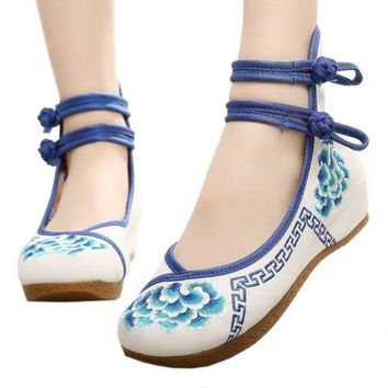 Old Beijing Cloth Embroidered Shoes Slipsole   blue