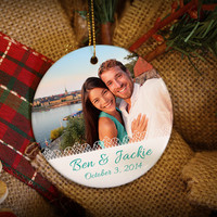 White Lace Custom Photo Personalized Christmas Ornament!