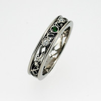 Green and white diamond filigree ring, engagement ring, green diamond ring, filigree wedding band, unique, custom, thin filigree, diamond