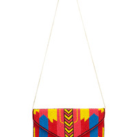 Bright Patterned Seed Bead Clutch w/ Chain Shoulder Strap