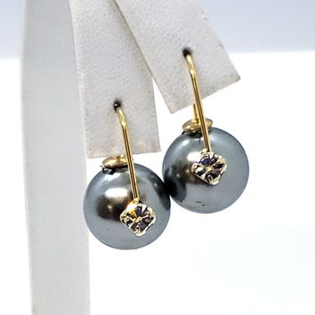 (1-1014-h9) Gold Overlay Need Design Pearl and Crystal Earrings.