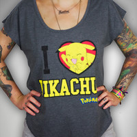 """I Love Pikachu"" Dolman Junior Fitted Tee"