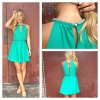 Green Beaded Monika Dress
