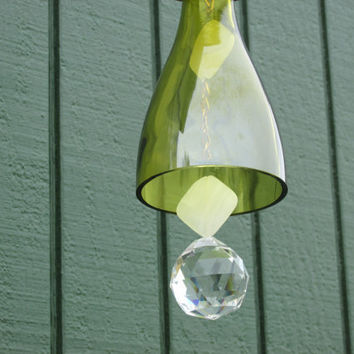 Upcycled wine bottle wind chime, Recycled Wind Chime, Green glass windchime,
