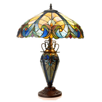"LIAISONTiffany-style 3 Light Victorian Double Lit Table Lamp 18"" Shade"