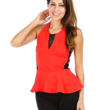 CORAL LIVERPOOL PEPLUM HALTER TOP T1454 - Small