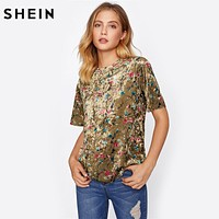Botanical Crushed Velvet Top Casual T shirts Women Summer Tops Coffee Short Sleeve Floral T-shirt