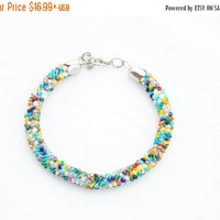ON SALE Multi colored bracelet for women minimalist bracelet crochet jewelry gift for her bfb bracelet bead crochet bracelet for mom