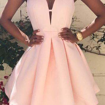 Pink Plain Pleated Zipper V-neck Sleeveless Sexy Homecoming Cute Mini Dress