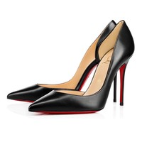 Best Online Sale Christian Louboutin Cl Iriza Black Leather 100mm Stiletto Heel 13w