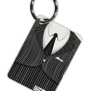 Pinstripe Gangster Jacket Printed Costume Aluminum Keyring Tag All Over Print