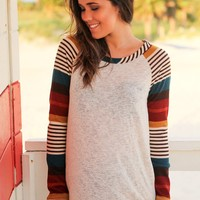 Oatmeal Top with Multi Colored Striped Sleeves