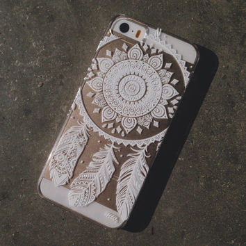 """Clear Plastic Case Cover for iPhone 6 (4.7"""") Henna Ojibwe Dreamcatcher tribal feather love ethnic mayan aztec dream catcher"""