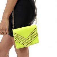 Neon Color Faux Leather Clutch with Oversized Gold Spikes