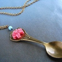 Miniature spoon necklace coral rose blue glass by soradesigns