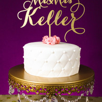 Wedding Cake Topper | Custom Last Name | SIlver or Gold Metallic