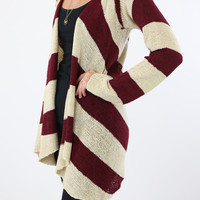 Burgundy and Ivory Chevron Fall Cardigan