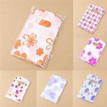 100pcs/Lot Pretty Mixed Pattern Plastic Gift Bag Shopping Bag Packaging Bags Note Holder Stationery Organizer 14X9CM