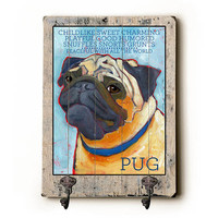 Pug Hanger by Artist Ursula Dodge Decorative Leash Hanger
