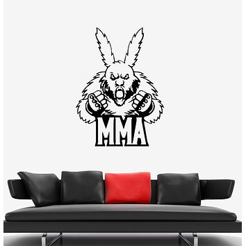 Wall Decal Fighter Animal Rabbit MMA Sport Boxing Vinyl Sticker (ed1337)