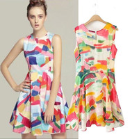 Printed Chiffon High Waist Sleeveless Pleated A-Line Mini Dress
