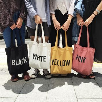 Women Canvas Tote Bag Concise Letter Printing Shoulder Cloth Bags Ladies Duty Cotton Shopping Bags Small Fresh  h524