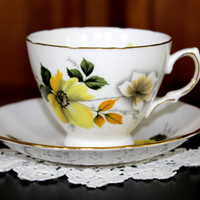 Royal Vale Vintage Teacup, Tea Cup and Saucer, Beautiful Yellow Dogwoods on White 12210