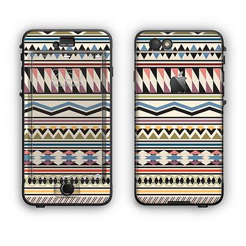 The Tan & Color Aztec Pattern V32 Apple iPhone 6 Plus LifeProof Nuud Case Skin Set