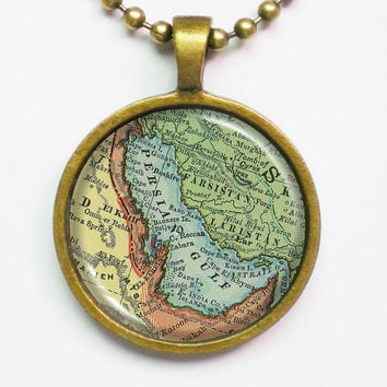 Persian Gulf Vintage Map Necklace - Middle East, Persian Gulf -Vintage Map Series