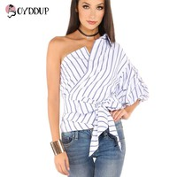2017 Women New Fashion shirts Blue Striped V-neck One Shoulder Wrap Around Bow Ruffle Tie Waist Slim Blouses OYDDUP36