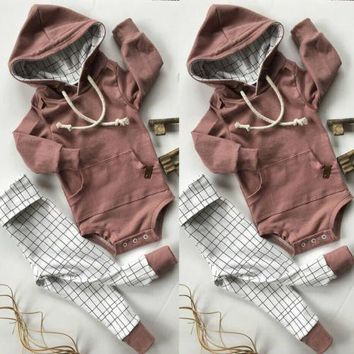 Toddler Baby Kids Boys Girls clothes  Hooded romper +plaid  Pants 2Pcs Outfits Set Clothes