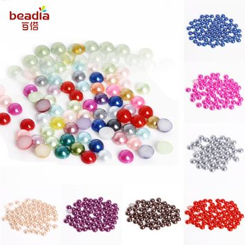 600pcs 8mm Milticolor Flatback Half Round Pearl Craft ABS Imitation Pearl Resin Scrapbook Beads For DIY Jewelry DIY Bracelet