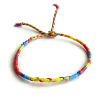 Red Tie Dye Friendship Bracelet and Anklet, Red and Blue Wanderlust Friendship Anklets