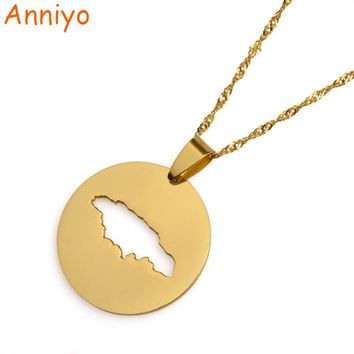 Anniyo Round Jamaica Map Pendant Necklaces Gold Color Jewelry Jamaican Patriotic Gifts #017021