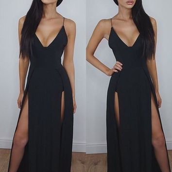 Black Plain Side Slit Plunging Neckline Party Cotton Maxi Dress