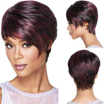 VONE2B5 30cm Fashion Sexy Fluffy Bob Ladies Synthetic Wig Women Tilted Frisette Short Hair Cosplay Wigs Wine Red