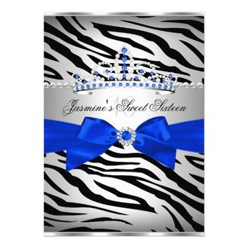 Royal Blue & Black Zebra Sweet 16 Birthday Party 5x7 Paper Invitation Card