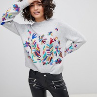 Mango Embroidered Knit Jumper at asos.com