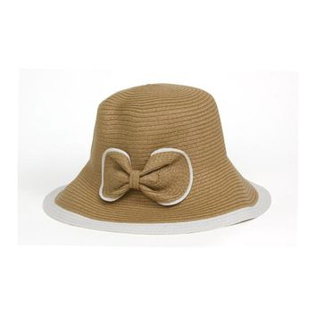Brown Two Tone Paper Straw Downturn Brim Hat with Bow