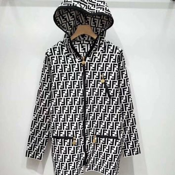 FENDI FF Knit Cardigan Hooded Jacket Coat-1