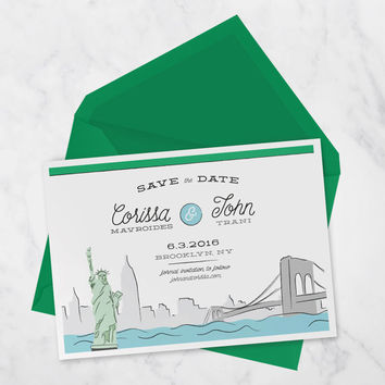 Printable Save the date postcard with Brooklyn, New York for a Travel Wedding, DIY save the date for a Destination wedding